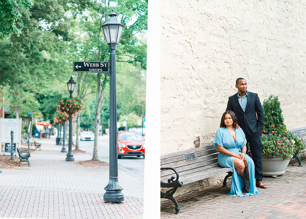 downtown roswell engagement session with a beautiful couple with blue outfits