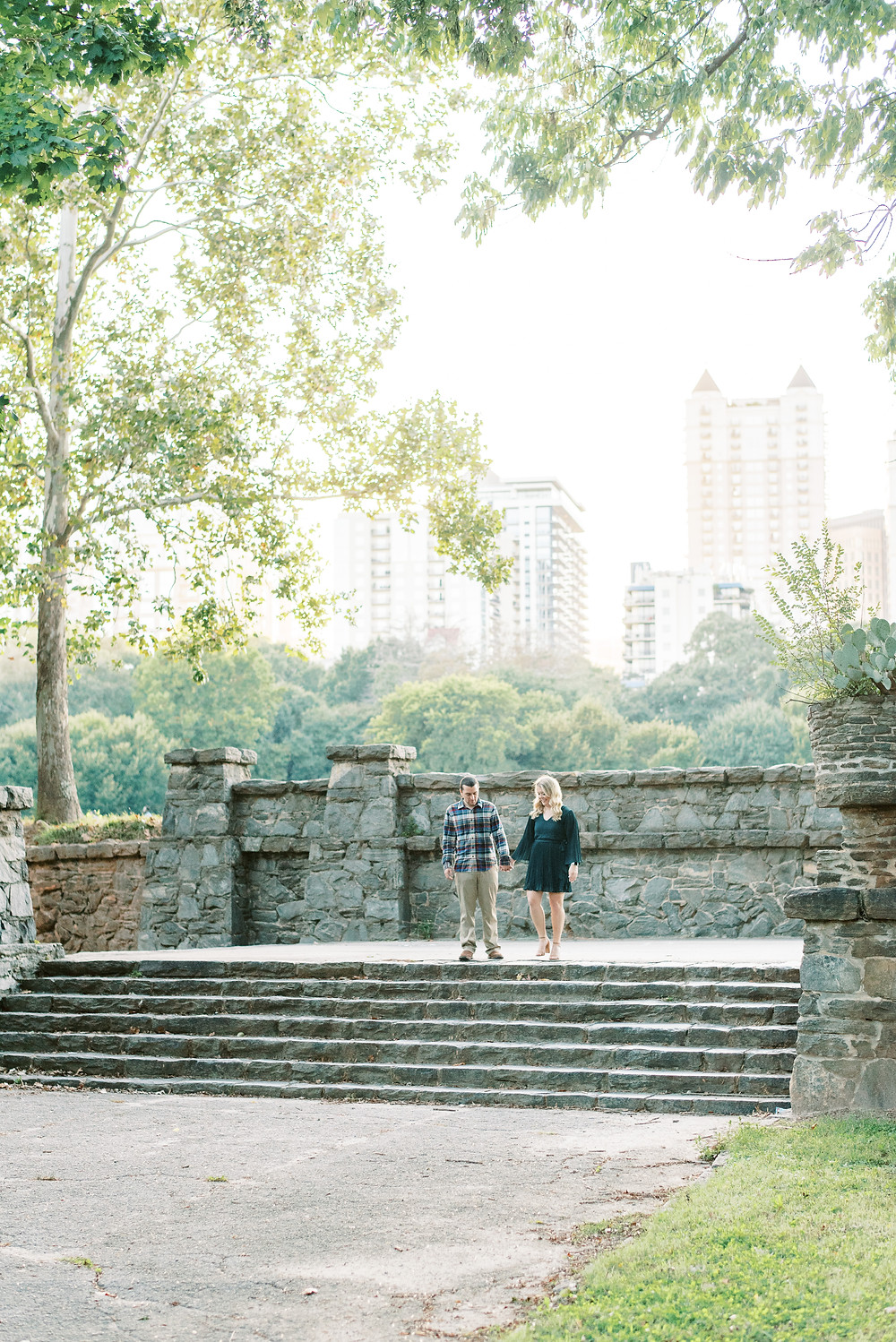 fall engagement session at piedmont park with a cute puppy