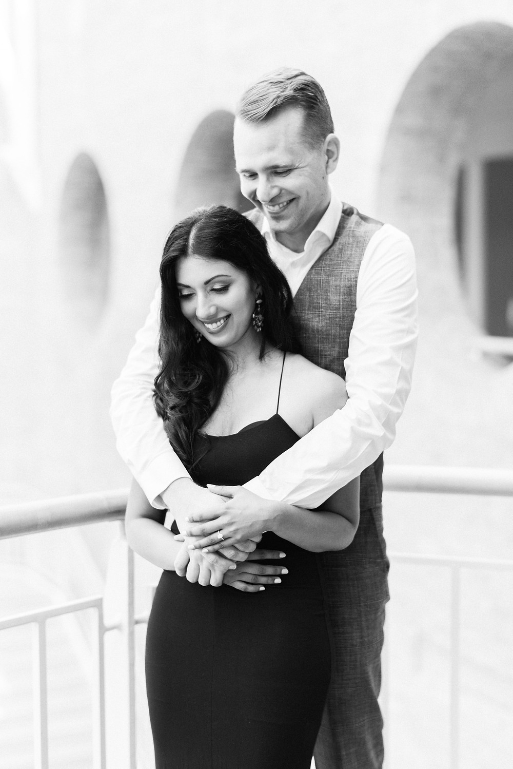 Engagement session at Fernbank Museum black and white