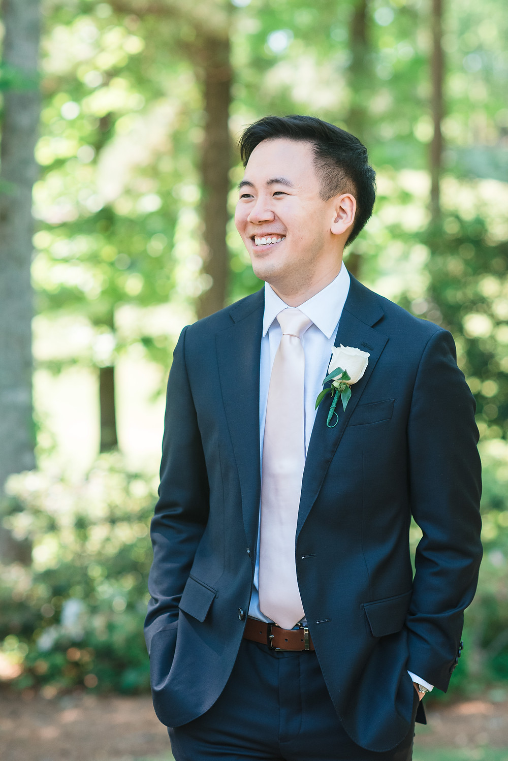 groom in navy stylish tux getting married the country club of the south