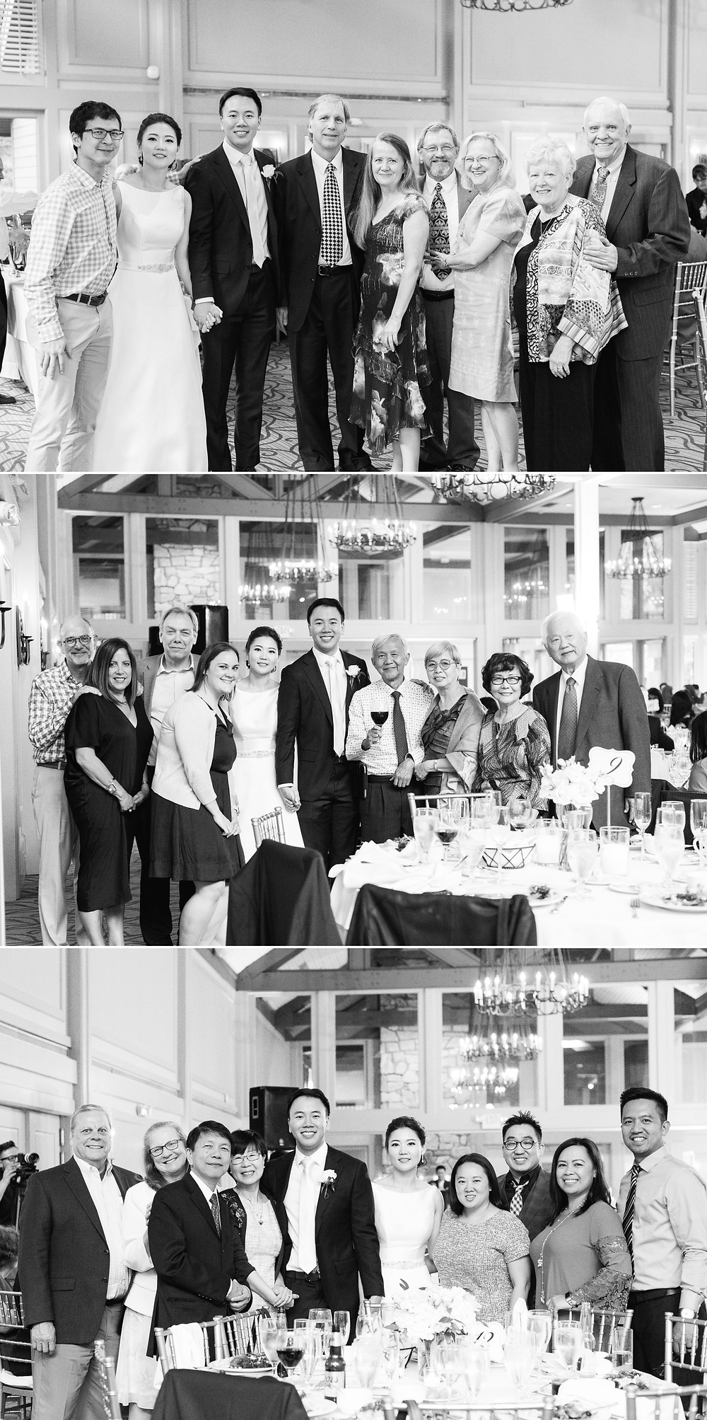 a fun group of friends attending their friends wedding at the country club of the south