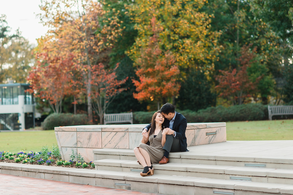 engagement session at Emory University between a Korean couple photographed by Glorious Moments Photography