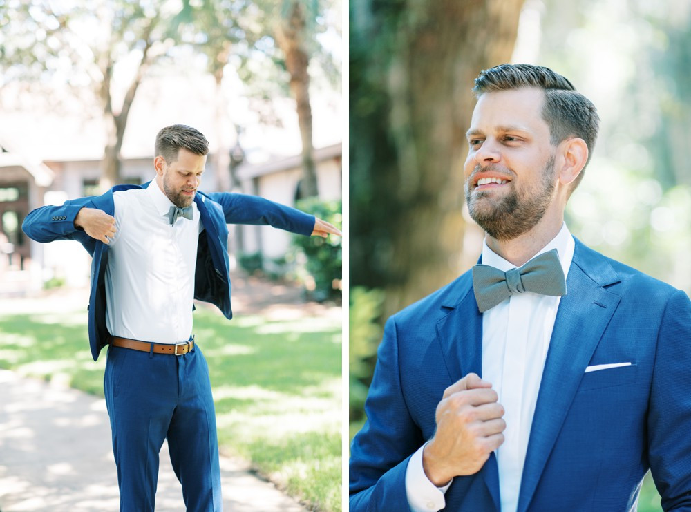 a groom getting ready at wesley methodist church st simons island wearing blue jacket