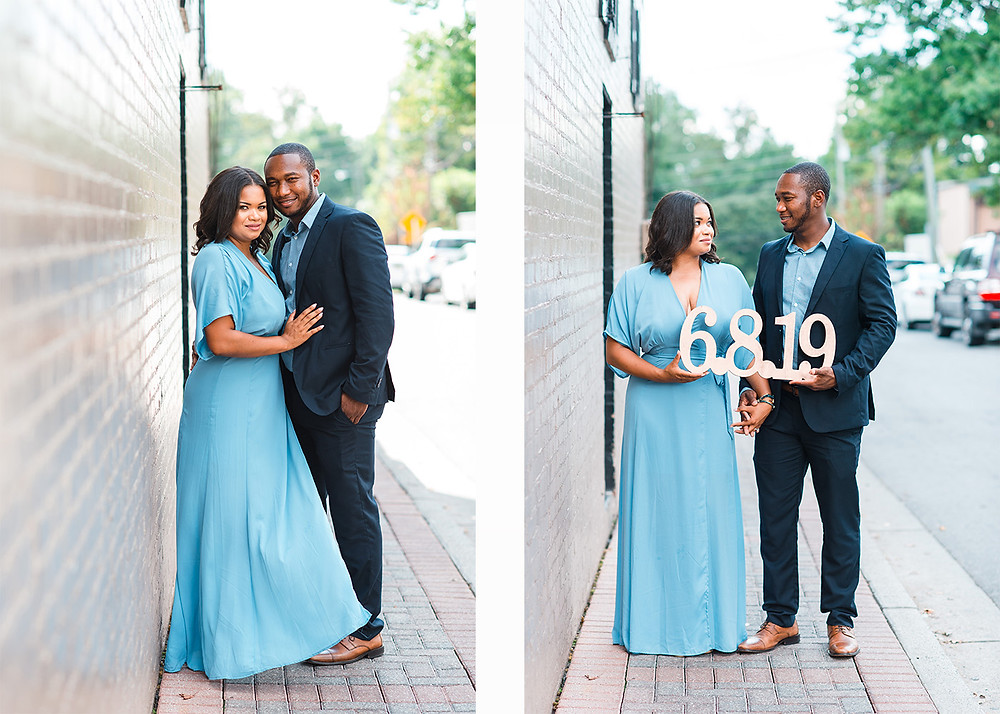 african american couple posing for engagement session in downtown roswell
