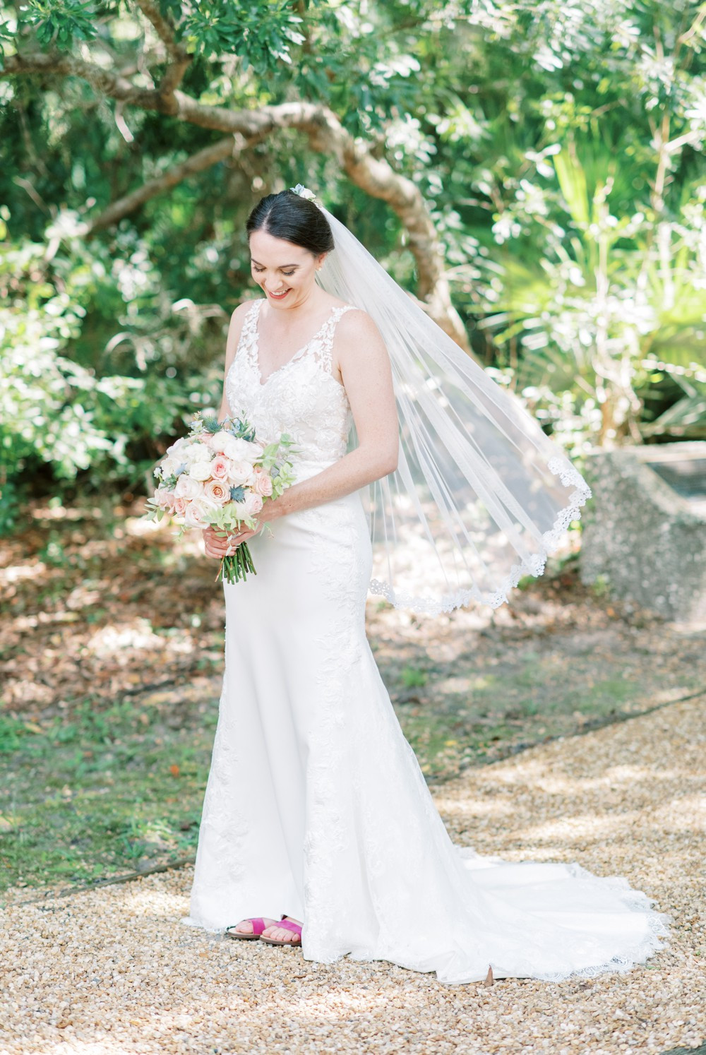 a bridal portrait at wesley methodist church st simons island destination wedding