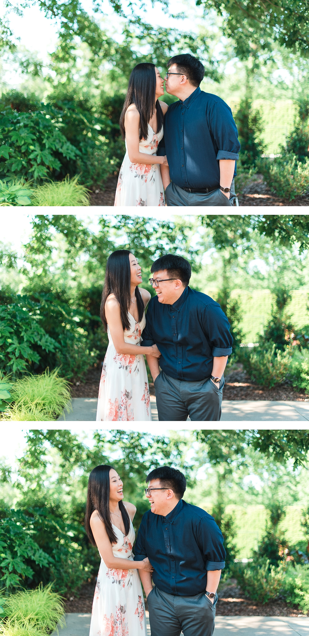 girl wearing a flower dress a couple kissing for a romantic atlanta botanical garden engagement session in spring magnolia flower