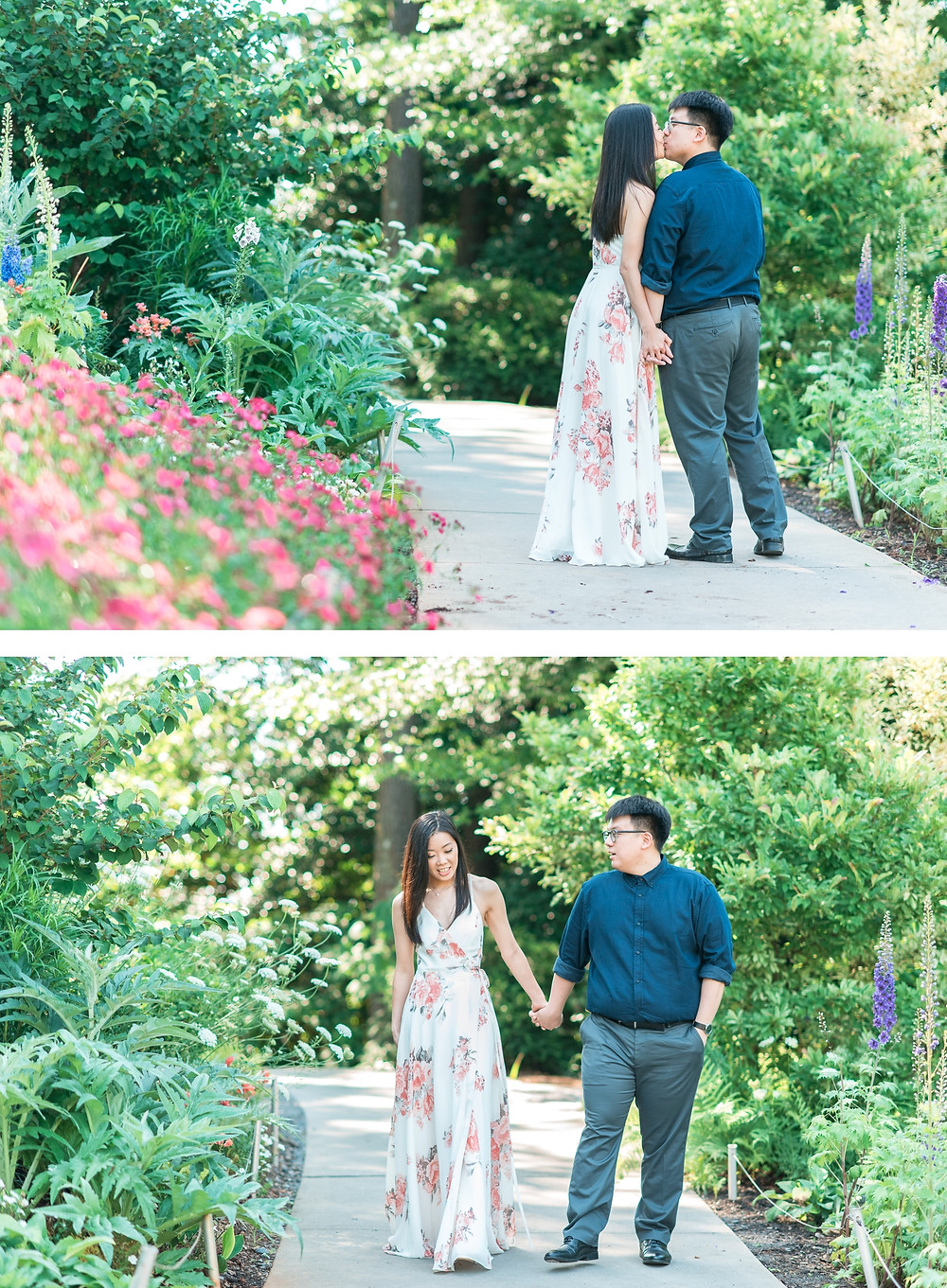 girl wearing yellow shirt a couple laughing for a romantic atlanta botanical garden engagement session in spring