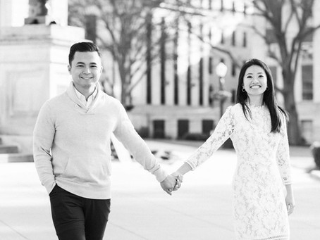 Lisa + Nhat | An Elegant, Urban Engagement Session in Downtown Atlanta| Glorious Moments Photography