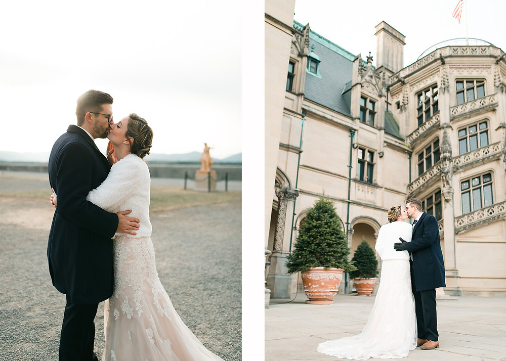 winter wedding dress, blush wedding dress, biltmore estate wedding, a couple getting married at the biltmore estate wedding