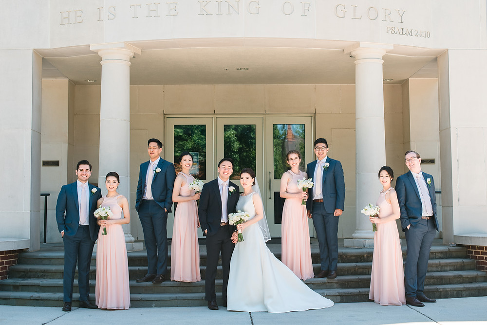 korean wedding couple wearing a blush wedding dress getting married the country club of the south bridal party cheering photos