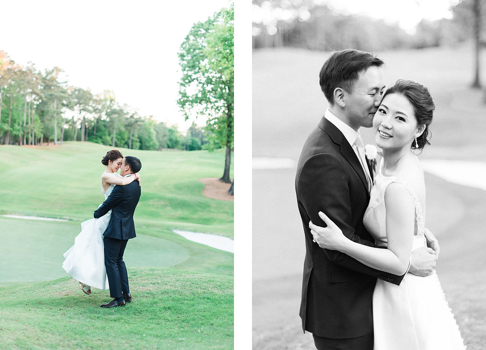a newlywed couple wearing navy tux and a line wedding dresskissing on the golf course of country club of the south