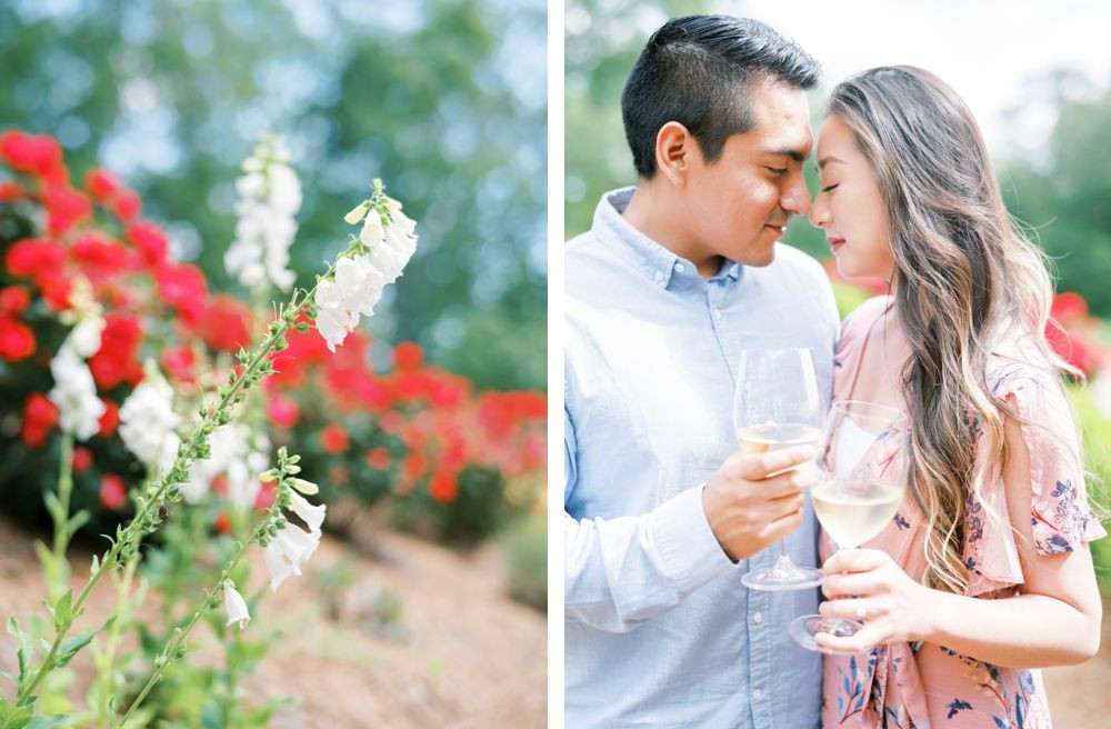 a bride with pink flower dress and a groom with a chambray shirt hold hands under the tree for an elegant engagement session at montaluce winery, dahlonega