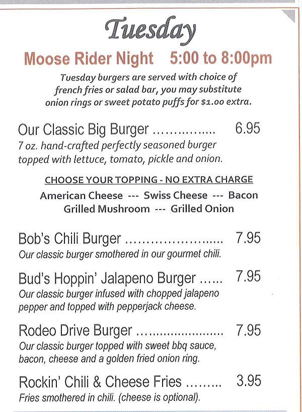 Moose Riders 1933 Burger Night Menu
