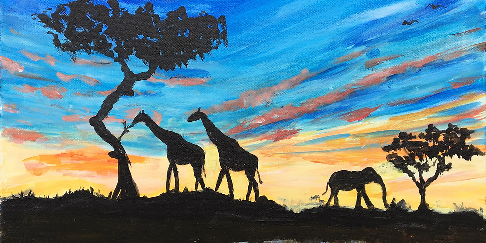 Online Paint Party - Sunset Animals - Free Event