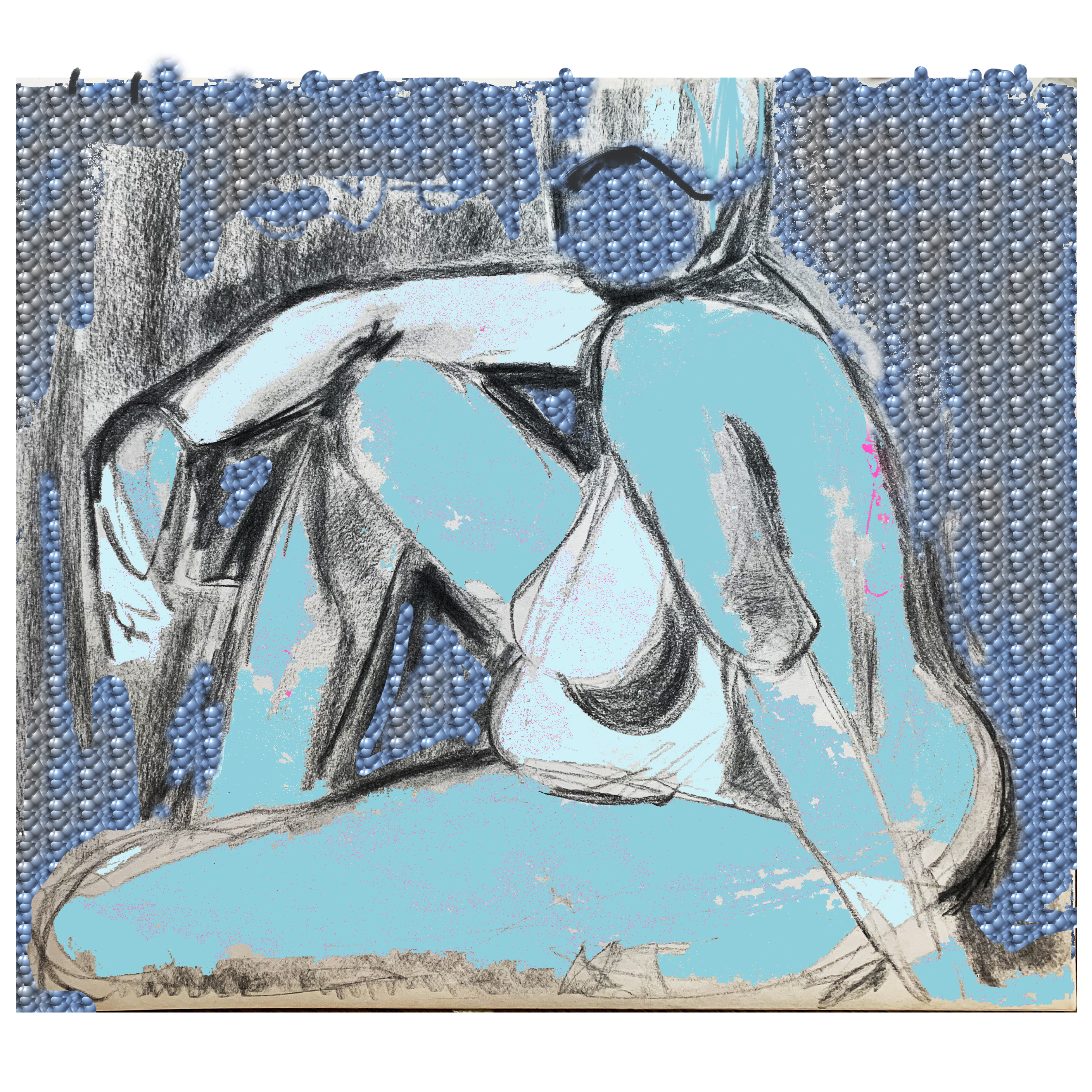 Woman Seated - Blue Mask