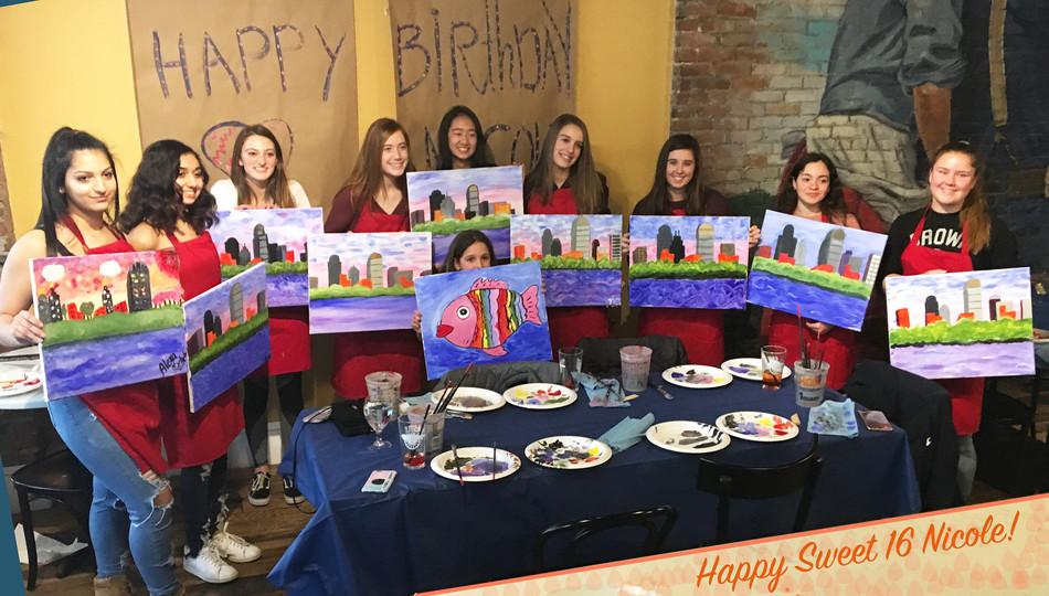 Sweet Sixteen Birthday Paint Party 🎊 🎈