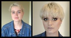 Makeup model 2 before and after makeup