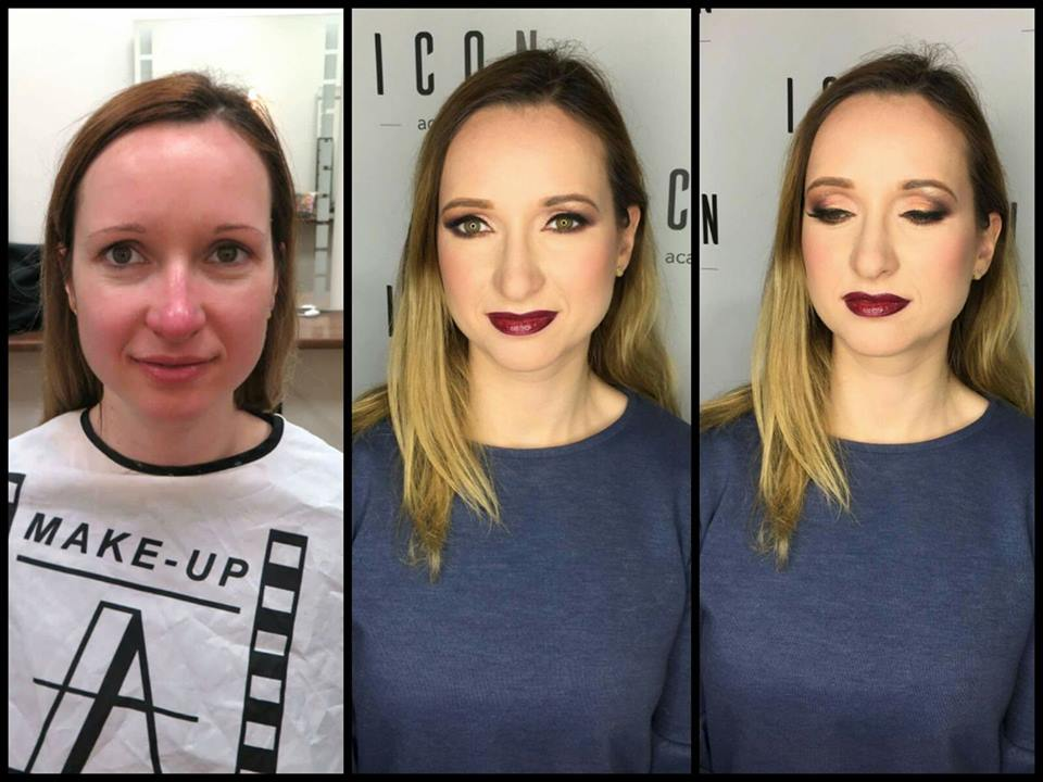 Makeup model 4 before and after makeup