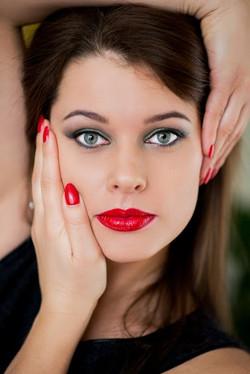 Evening makeup model