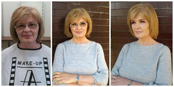 Makeup model 5 before and after makeup