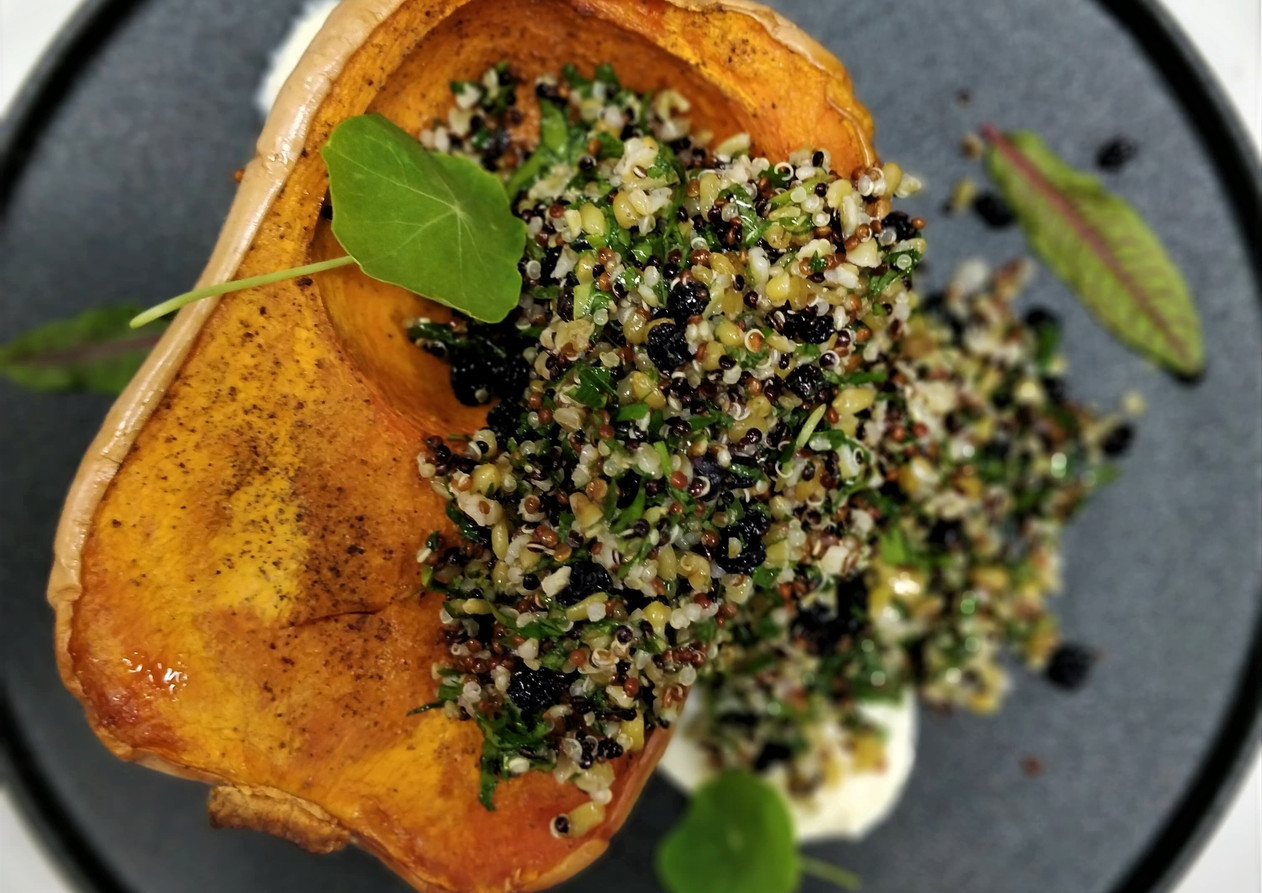 Roast Butternut Pumpkin w ancient grains