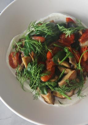 Sauteed Mushroom w tomato and yoghurt