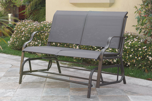 Combine fun and style with a textilene glider loveseat the feature a sturdy  steel frame that's weather, fade and heat resistant. Available in dark grey  and ... - Outdoor Loveseat Glider Phx-patio-furniture