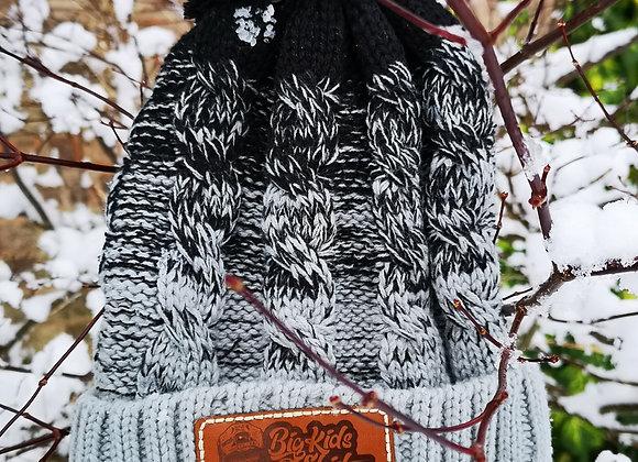 Black/ Light Gray Bobble Hat