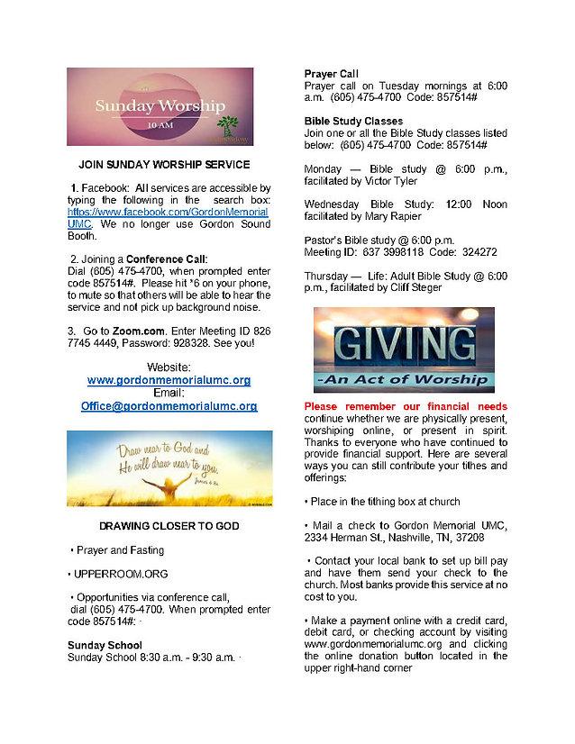 Worship - Giving Information (E-Newslett