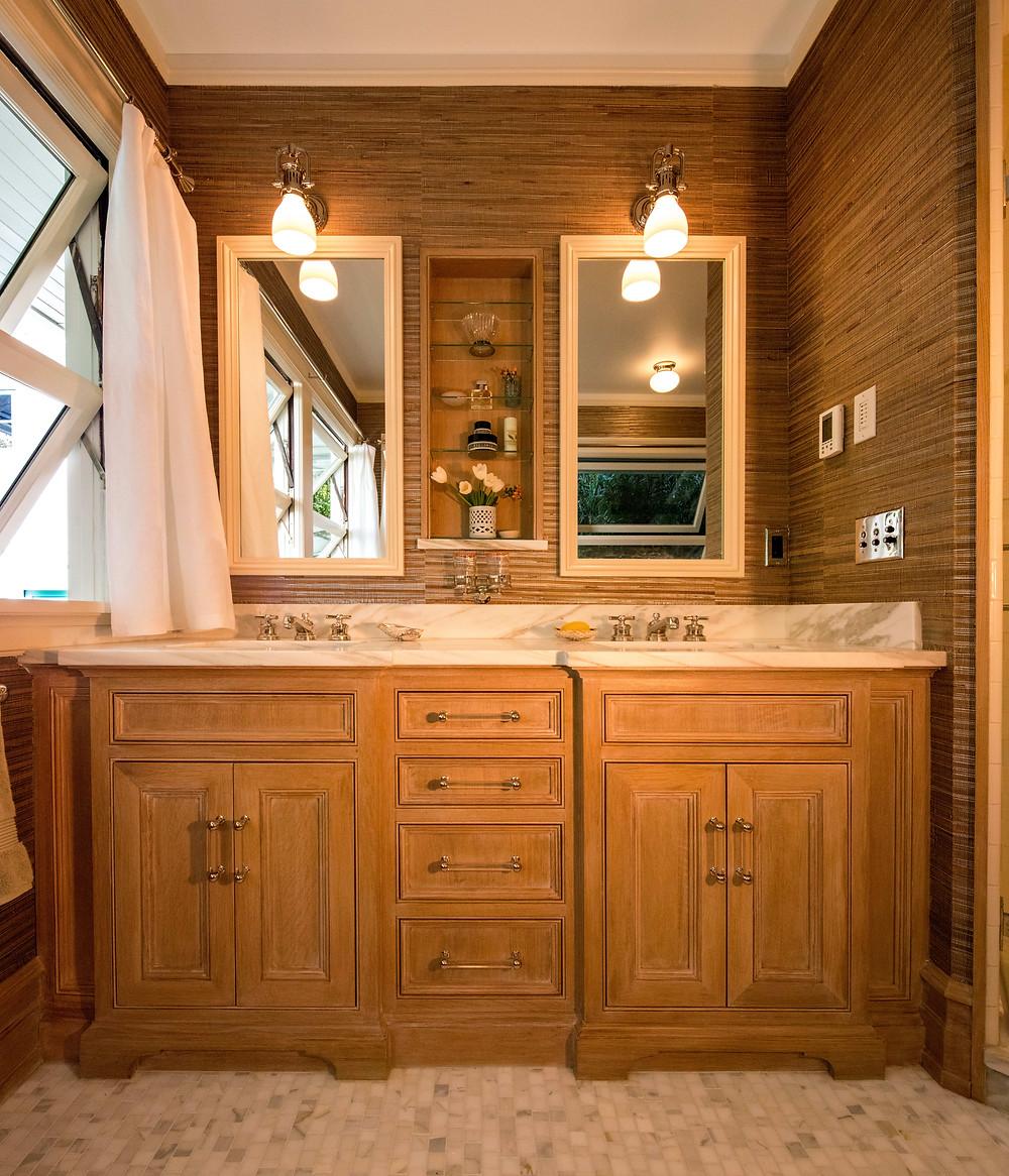 Bathroom Design portland oregon, luxury bathroom, his and her sinks, grasscloth in bathroom, historic portland bathroom, classic bathroom design, old portland, historic portland home, daniel house design, daniel house interiors, daniel house bathroom
