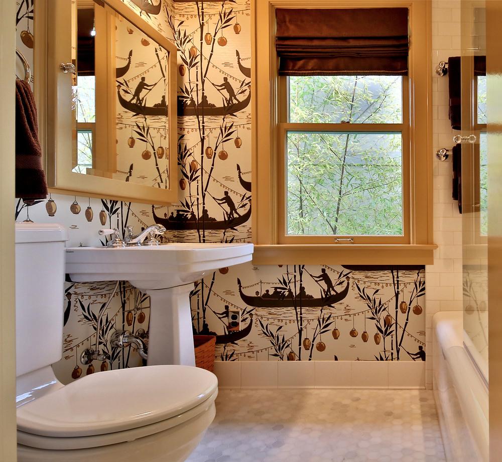 Cole and Son wallpaper in Portland bathroom, daniel house kitchen & bath, daniel house interior design, classical architecture portland, historic design, interior design portland