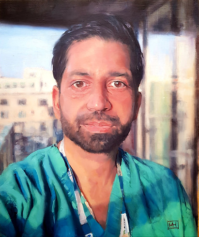 "Sukhpreet - End of shift - Featured in Bloomsbury publication ""Portraits for NHS Heroes"""