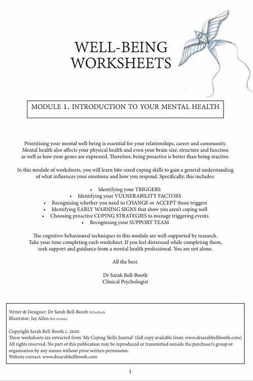 Well-being Worksheet Set (3 modules)