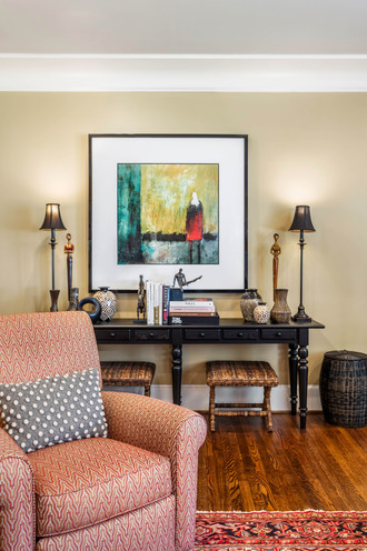 a styled entryway vignette