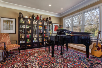 a front parlor turned music room