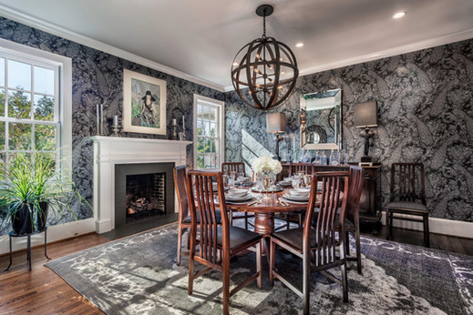 an eclectic yet traditional dining room