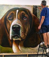 Artist Mark Barone paints 8X8 portrait o