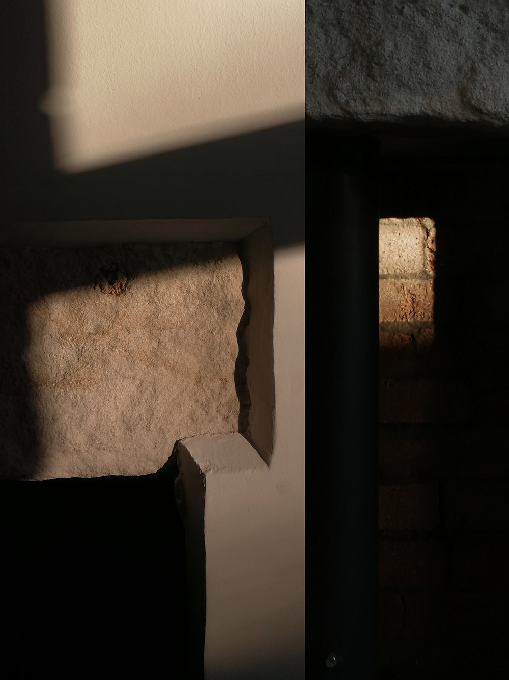 A collage of two images next to each other. One shows an angular shadow on a stone lintle. The one on the right shows a small rectangular section of red brickwork lit up by the sun.