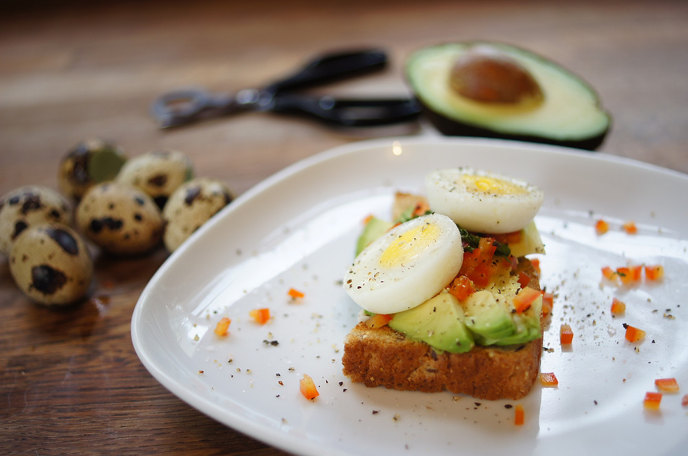 Forrest Farm Quail Eggs on Avocado Toast with Sweet Pepper and Lime