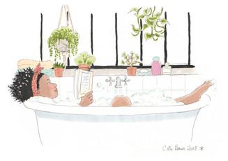 Lectrice au bain