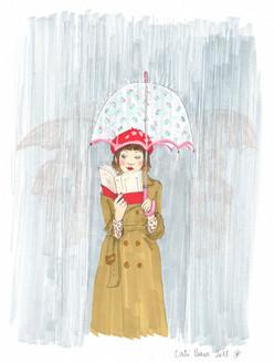 Lectrice au parapluie