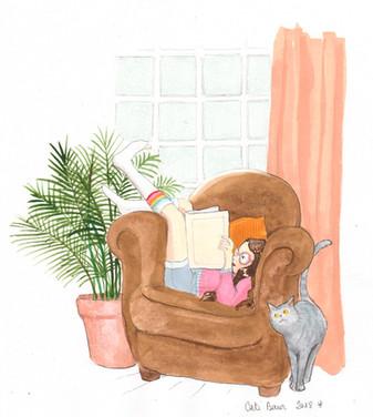 Lectrice au fauteuil