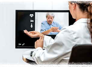 a patient and a doctor taking their own pulse as part of the telemedicine appointment