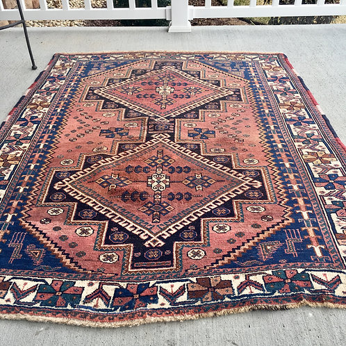Antique rug worn 4 x 5