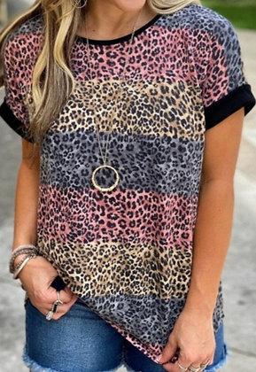 Multi-Colored Leopard Print Tee