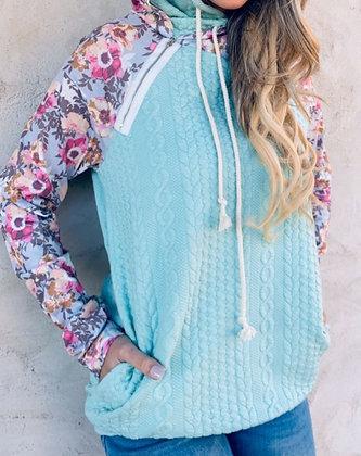 Aqua Hoodie with Floral Print Sleeve