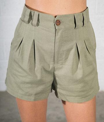 Pleated Olive Shorts