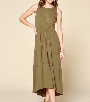 Olive High-Low Sleeveless Dress