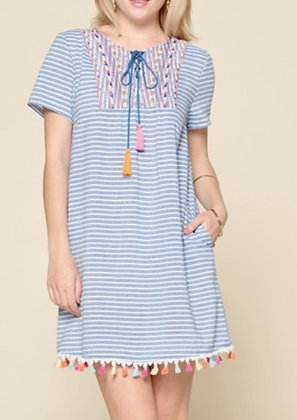Sky-Blue Striped Dress