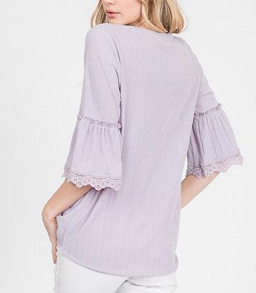 Lavender 3/4 Bell Sleeve Top